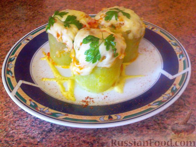 Рецепт Кабачки, фаршированные овощами, грибами и рисом