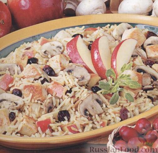 Рецепт Курица с рисом, яблоками и клюквой