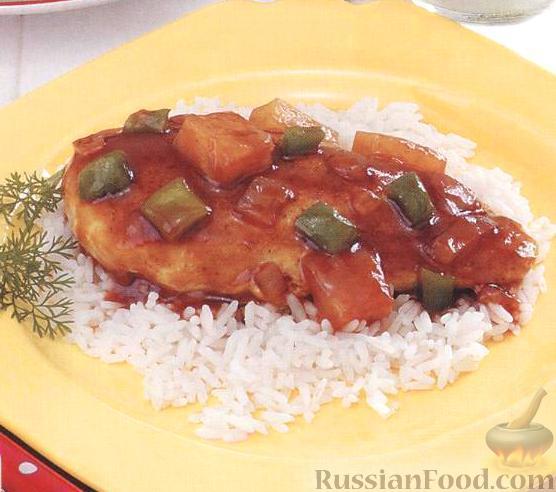 Рецепт Курица с ананасами и медовым соусом