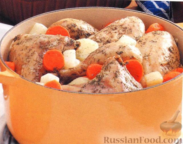 Рецепт Курица тушеная с овощами