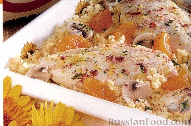 Фото к рецепту: Куриные грудки с мандаринами