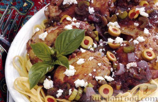 Рецепт Куриные бедрышки с оливками и сыром фета