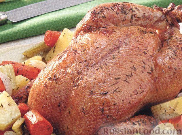 Рецепт Жареная курица с овощами