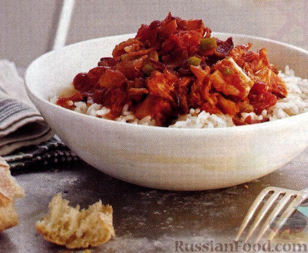 Рецепт Рис под соусом из бекона, тунца и томатов