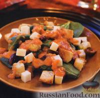 Фото к рецепту: Салат из шпината с жареными помидорами