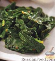 Фото к рецепту: Жареный шпинат с маслом и чесноком