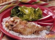Фото к рецепту: Куриные окорочка с яблоками