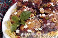 Фото к рецепту: Куриные бедрышки с оливками и сыром фета