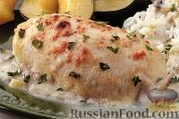 Фото к рецепту: Куриные грудки со шпинатом и мясом крабов