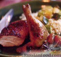 Фото к рецепту: Курица жареная с абрикосово-сливовым соусом