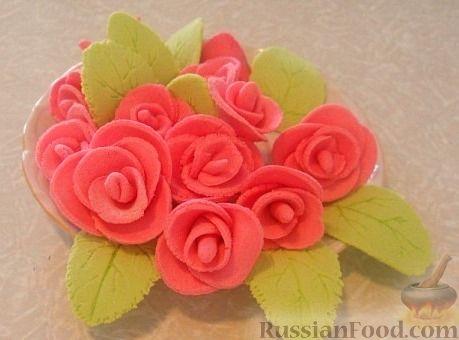 Рецепт Розы из сахарной мастики