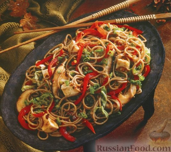 Рецепт Лапша собу с грибами и овощами