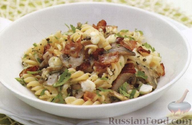 Рецепт Макароны с грибами, сыром и беконом