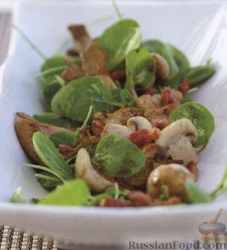 Рецепт Теплый салат из шпината, мяса и грибов
