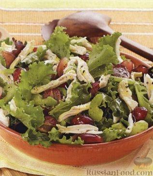 Рецепт Зеленый салат с куриным филе и виноградом