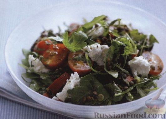 Рецепт Салат с помидорами и чечевицей