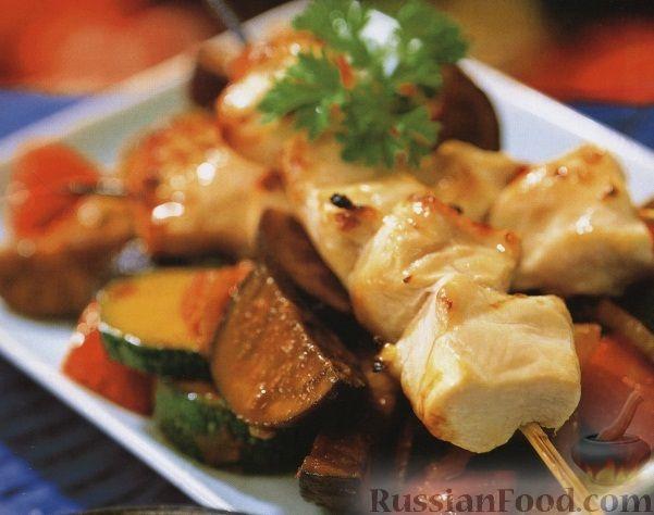 Рецепт Куриные шашлыки с овощным соте