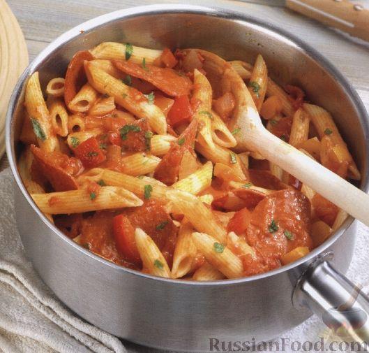 макароны см колбасой рецепт