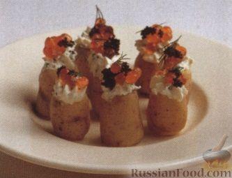 Рецепт Молодой картофель со сливочным кремом и икрой