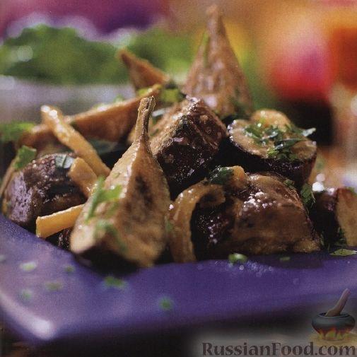 Рецепт Теплый салат из баклажанов и лука