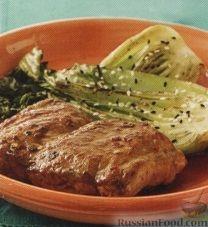 Рецепт Свиные стейки и жареный бок чой