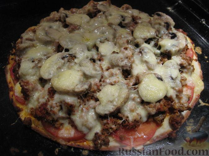 Пицца с фаршем помидорами и сыром рецепт