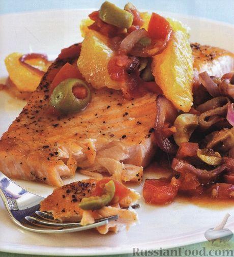 Рецепт Жареный лосось с апельсиновой подливкой