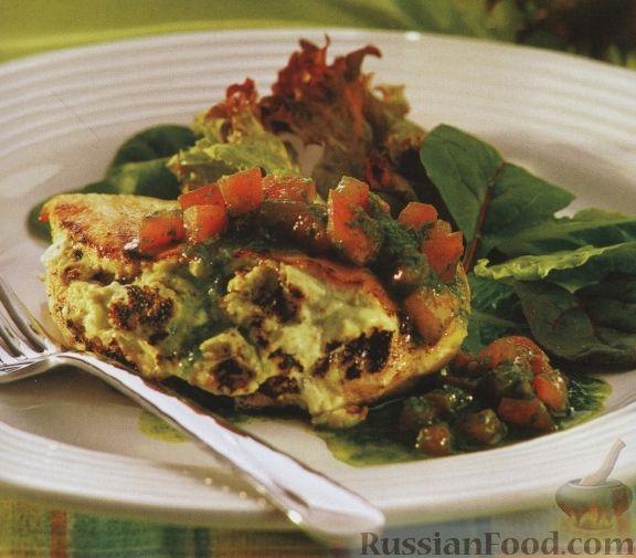 Рецепт Куриное филе с рикоттой и томатным соусом