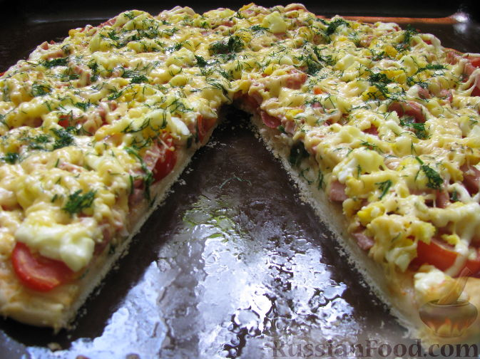 Рецепт Пицца с ветчиной, томатами и яйцом