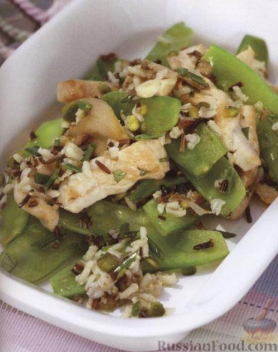 Рецепт Теплый салат из индюшатины, риса, горошка и грибов