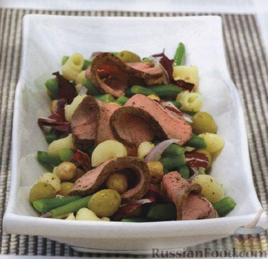 Рецепт Салат с овощами, макаронами и говядиной