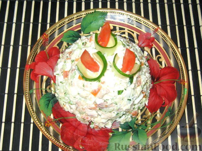 Рецепт Салат с курицей, сельдереем и свежим огурцом