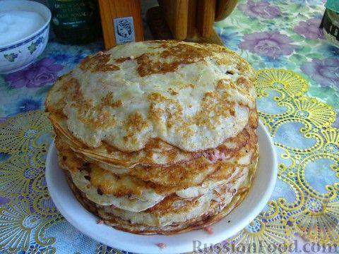 Рецепт Луковый блинный пирог
