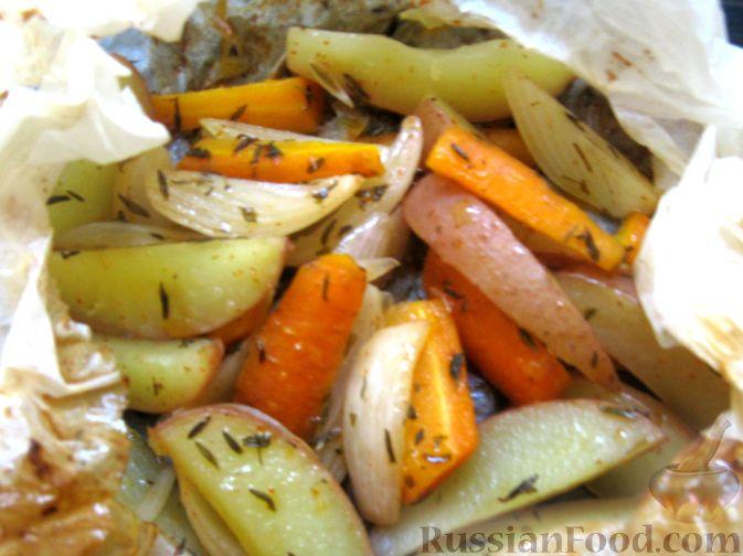 Рецепт Молодые овощи, запеченные в пергаменте