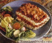 Фото к рецепту: Лазанья мясная с творогом и грибами