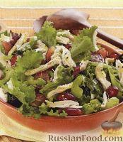 Фото к рецепту: Зеленый салат с куриным филе и виноградом