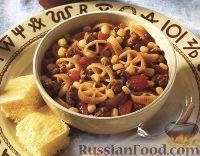 Фото к рецепту: Макароны с мясом и кукурузой