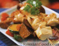 Фото к рецепту: Куриные шашлыки с овощным соте