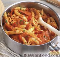 Фото к рецепту: Макароны с копченой колбасой