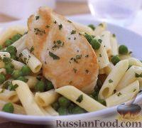 Фото к рецепту: Макароны с куриным филе и зеленым горошком
