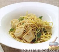 Фото к рецепту: Спагетти с куриным филе и лимонно-имбирным  соусом