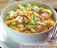 Фото к рецепту: Макароны с куриным филе и сыром фета