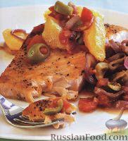 Фото к рецепту: Жареный лосось с апельсиновой подливкой
