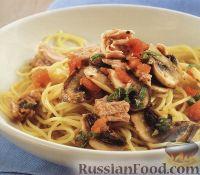 Фото к рецепту: Спагетти с тунцом, грибами и помидорами