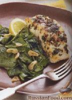 Фото к рецепту: Палтус со шпинатом