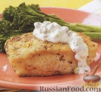 Фото к рецепту: Палтус с соусом тартар