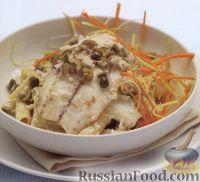 Фото к рецепту: Макароны с морским окунем и оливковым соусом
