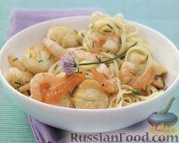 Фото к рецепту: Спагетти с креветками и морскими гребешками