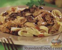 Фото к рецепту: Тальятелле в сливочном соусе с куриным филе