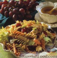 Фото к рецепту: Макароны с овощами, курятиной и виноградом
